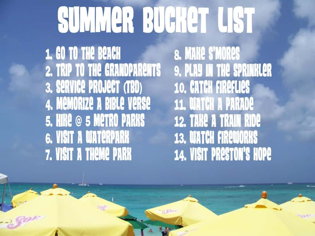 summer bucket list small
