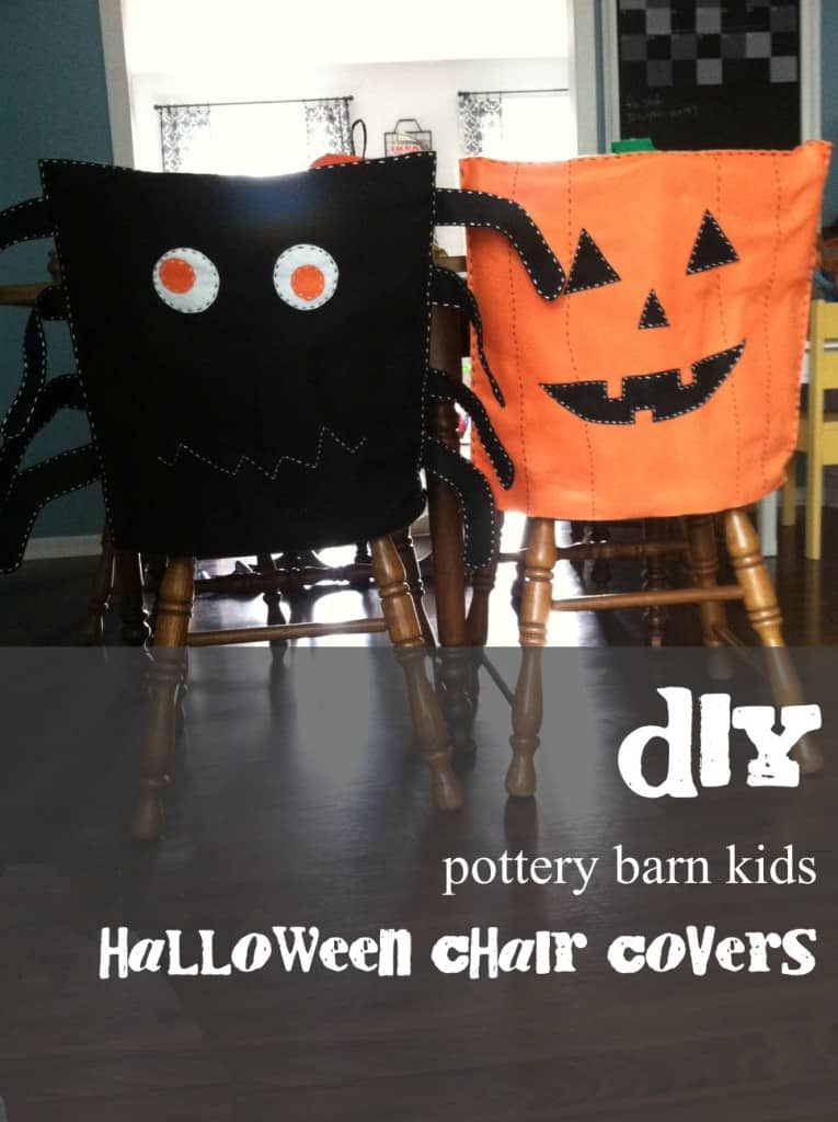 diy pottery barn halloween chair covers with text