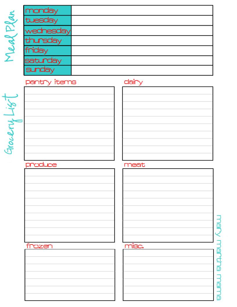 Meal Plan And Grocery List Printable  Printable Grocery List Template Free