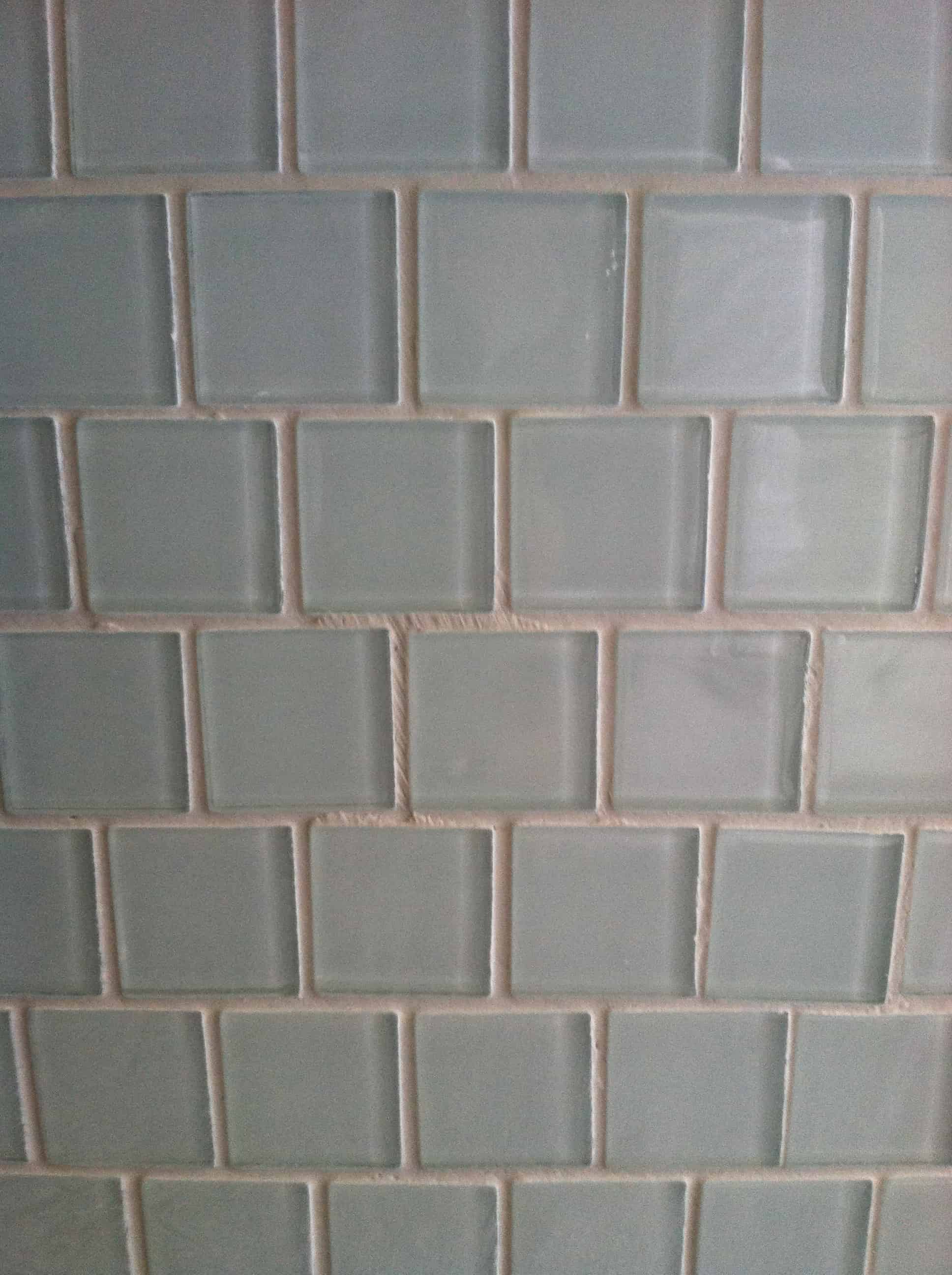 blue glass tile with grout applied