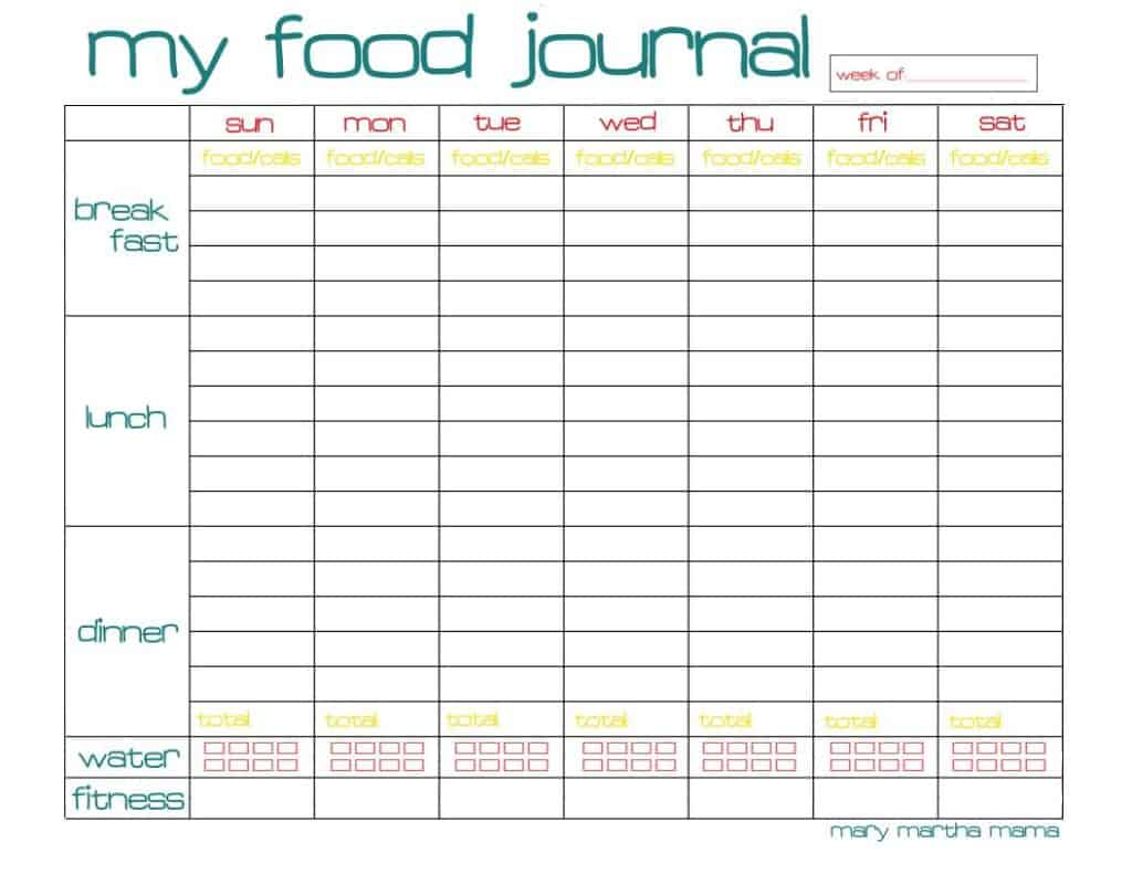 free food journal printable  healthy mama week 29   u2013 mary