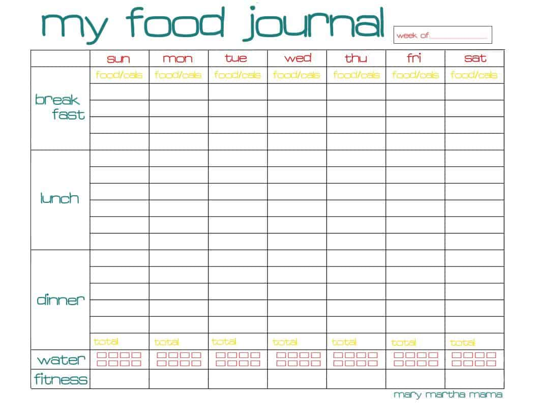 Free food journal printable healthy mama week 29 mary for Food diaries templates