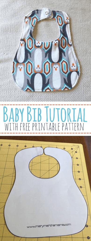 baby bib tutorial with free printable pattern
