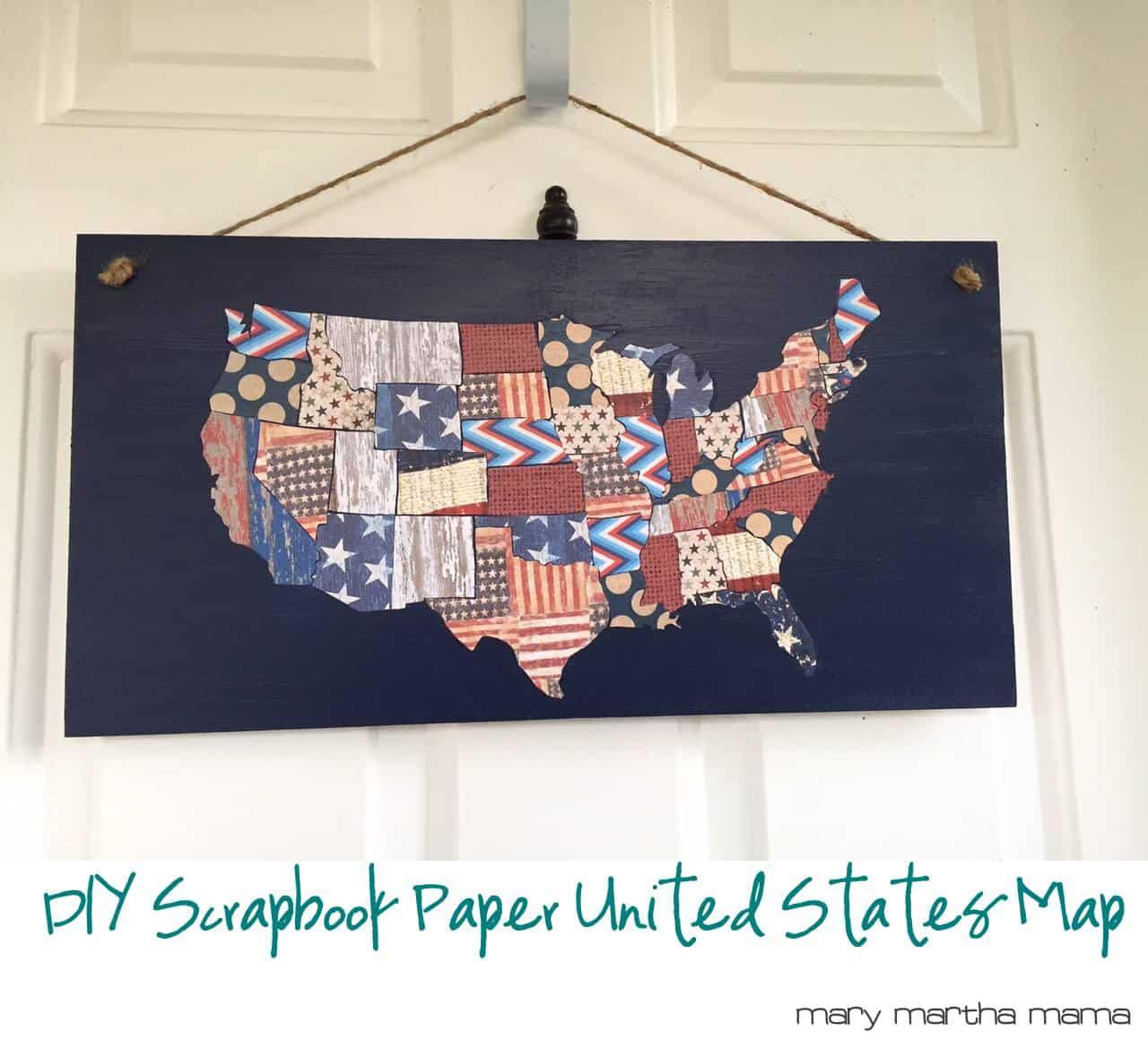 Scrapbook paper diy - Diy Patriotic Scrapbook Paper Map