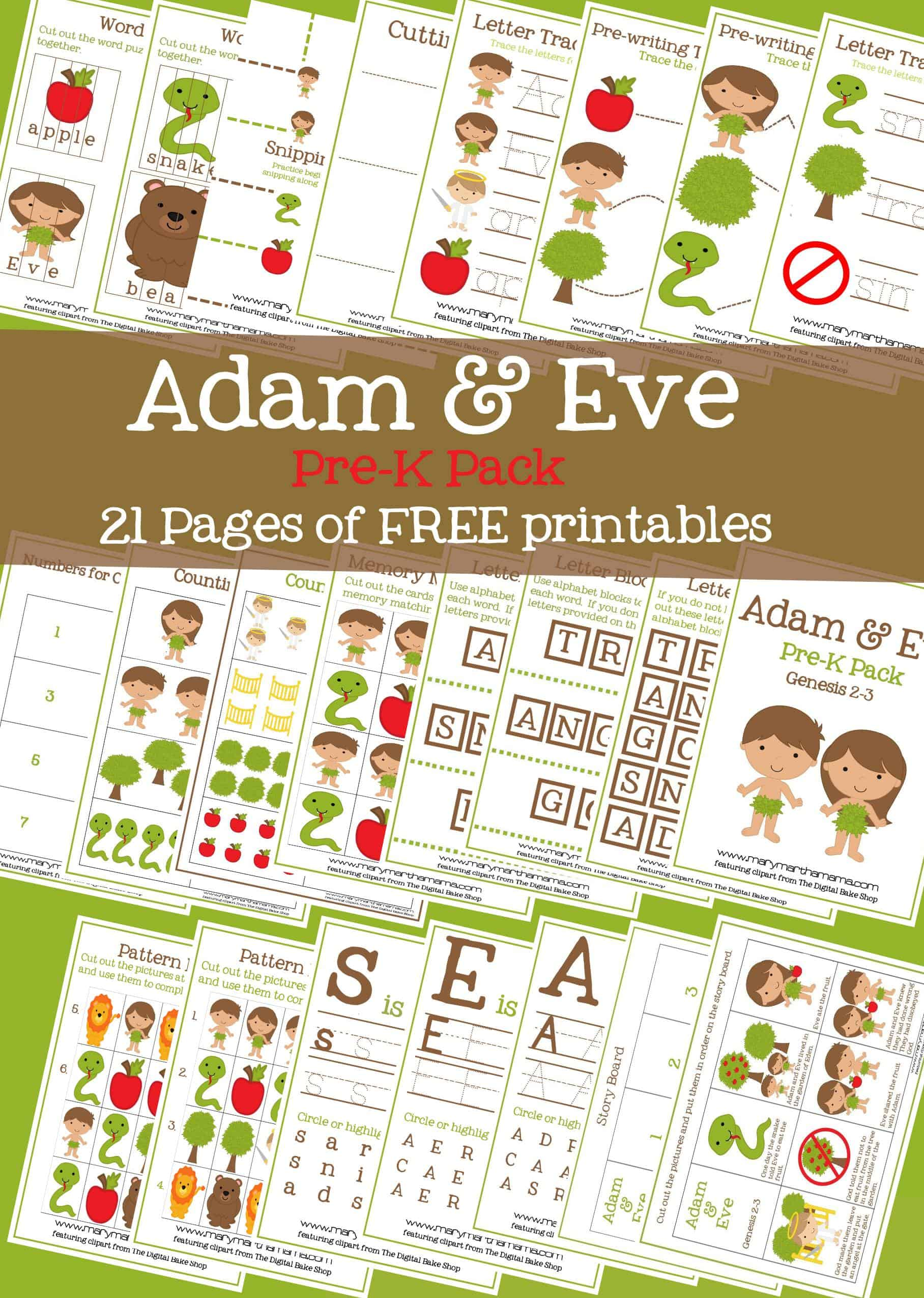 adam u0026 eve pre k pack free printables u2013 mary martha mama