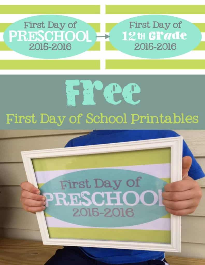 free first day of school printables pinterest