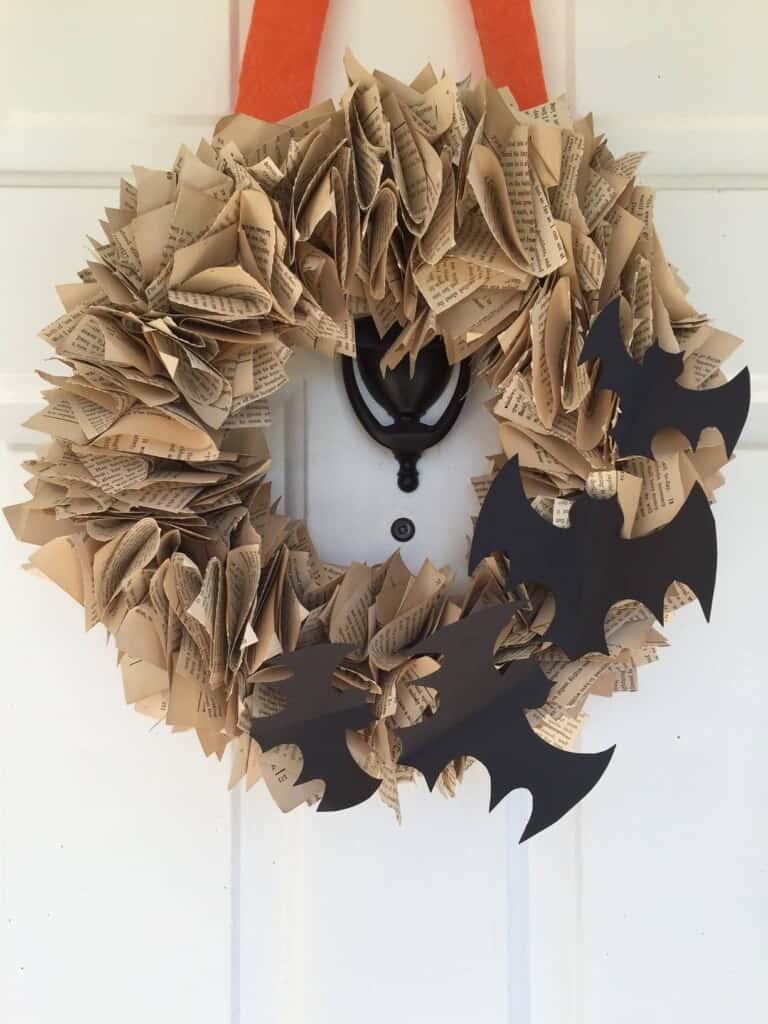 diy bat book page wreath