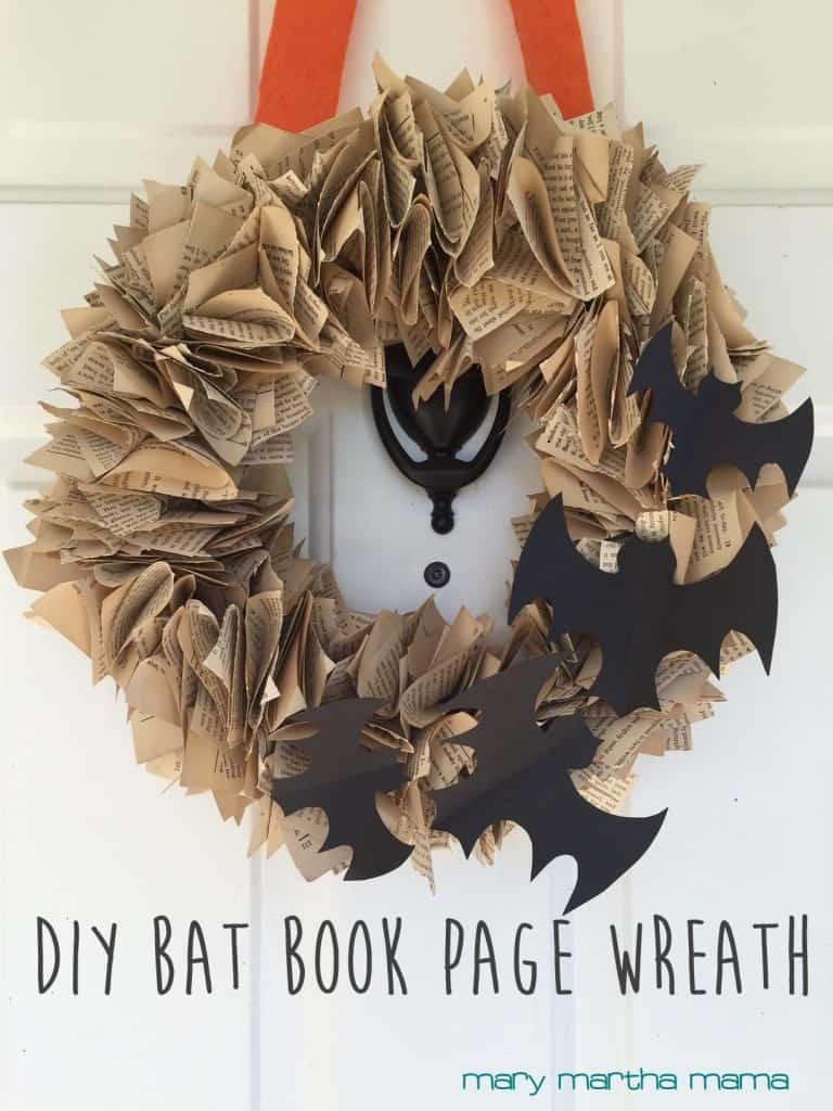 diy bat book page wreath pin