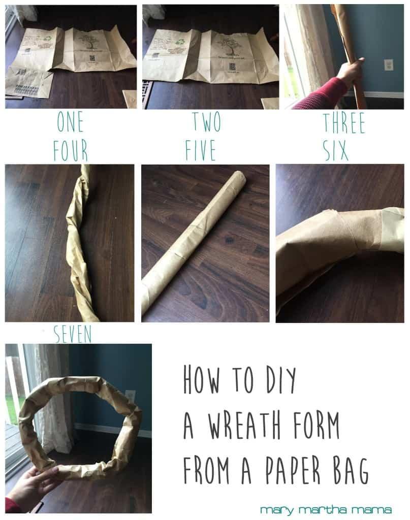 diy paper bag wreath