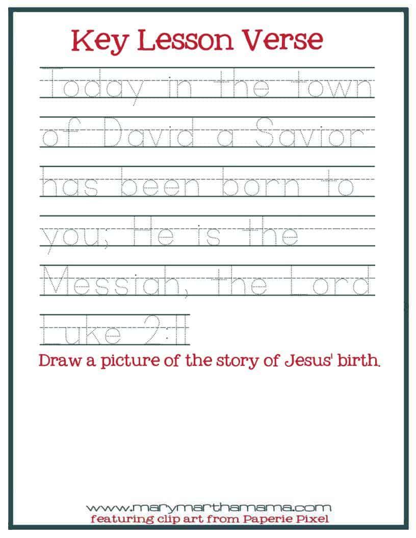 Christmas Worksheets for Preschoolers [Jesus\' Birth] – Mary Martha Mama