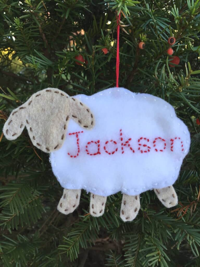 lamb personalized ornament
