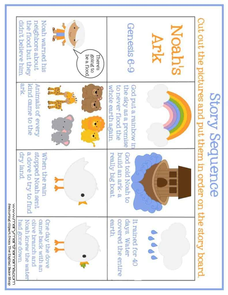 noahs ark prek pack story sequence page 1