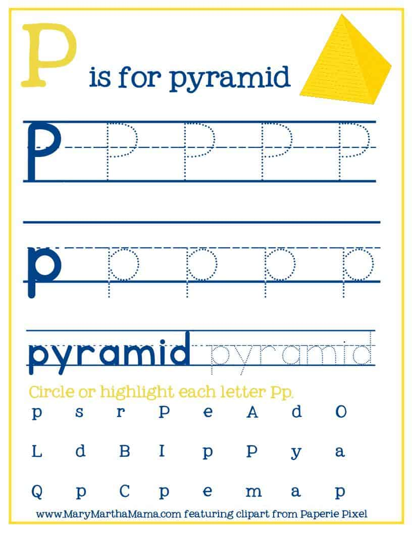 P is for pyramid letter tracing page
