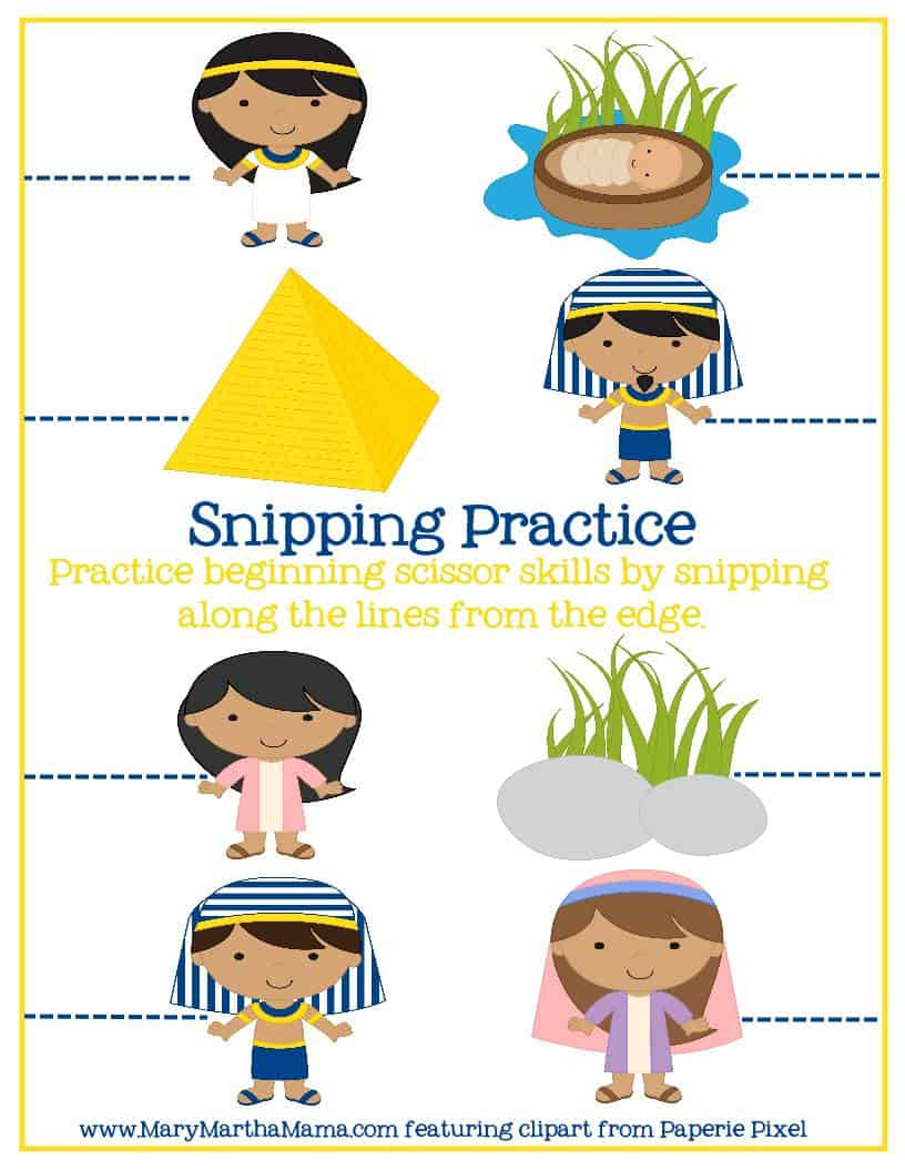 snipping practice page with Moses characters