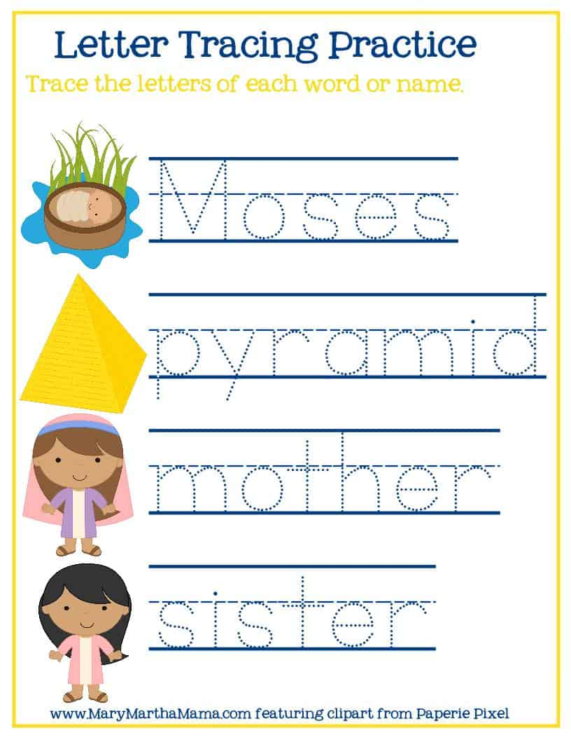 letter tracing page from the baby Moses activities pack