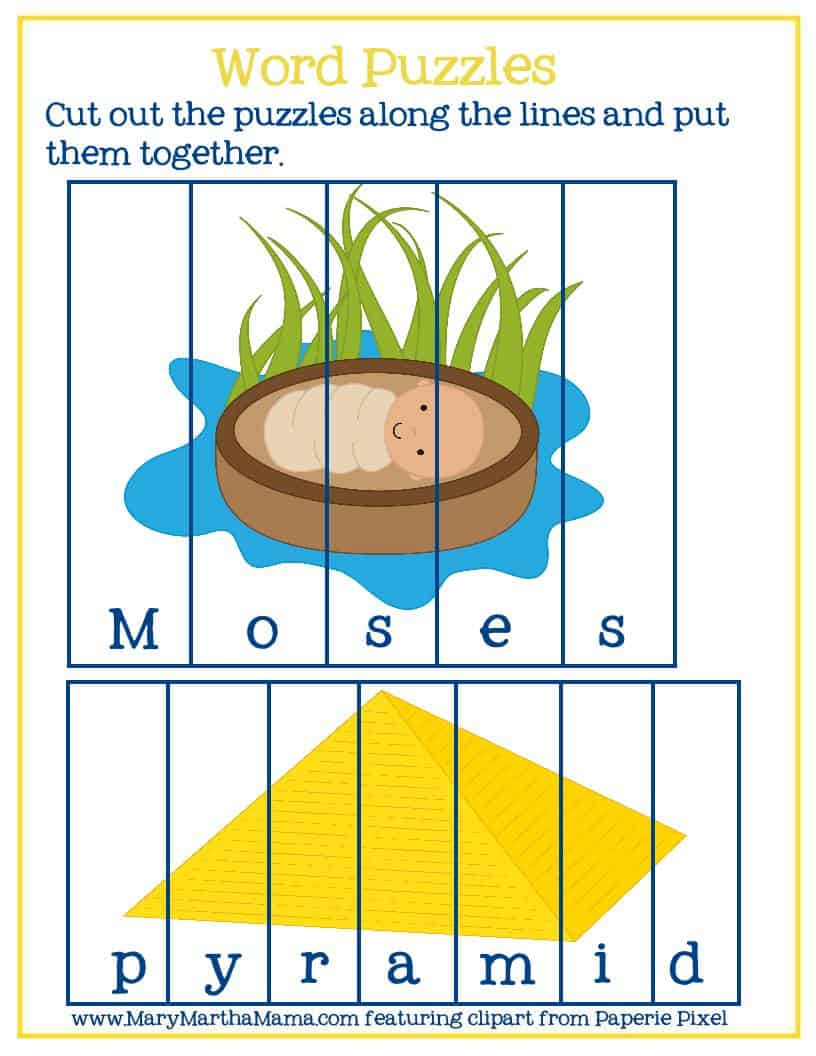 word puzzles featuring words and graphics from the Baby Moses activities pack