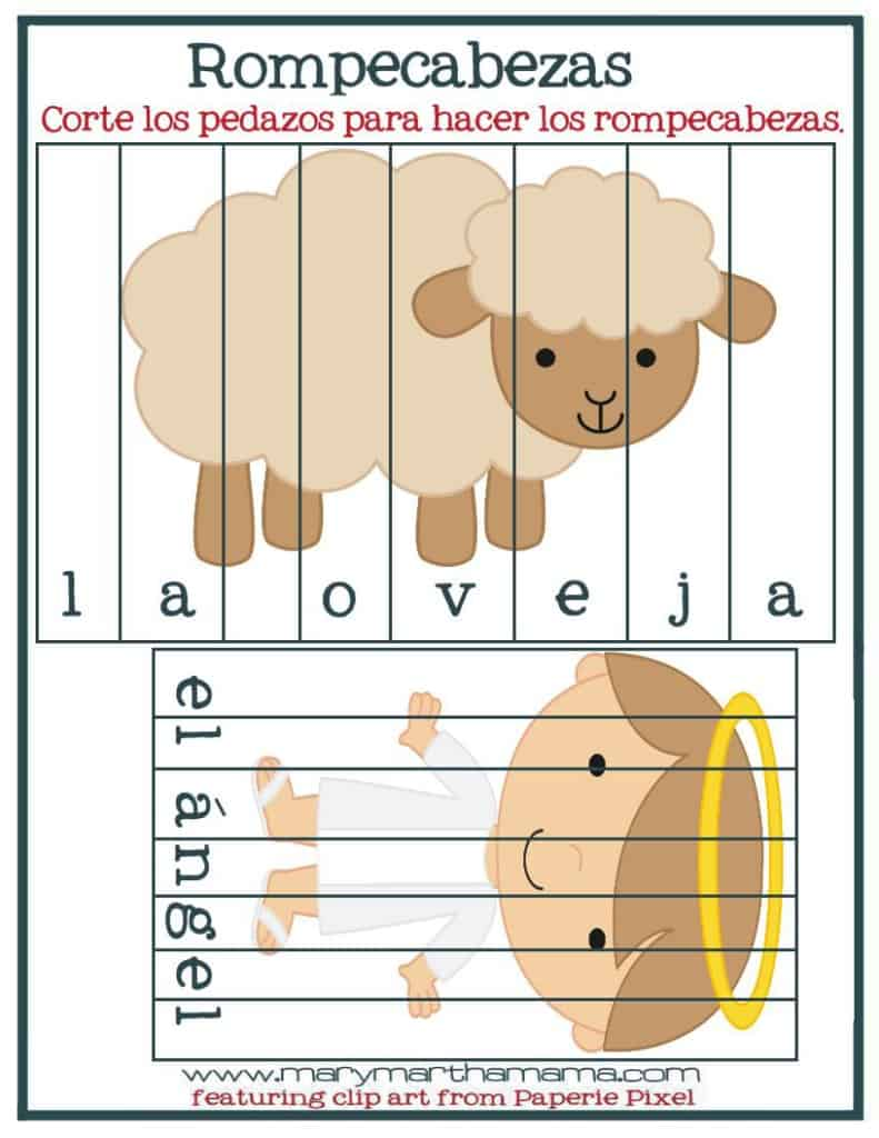 christmas prek pack spanish word puzzles