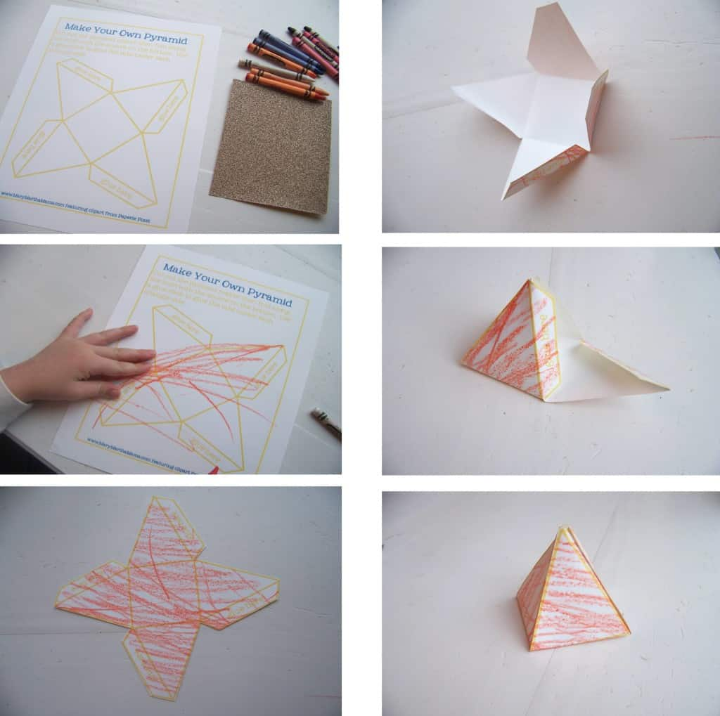 photo collage of the process of making the pyramid