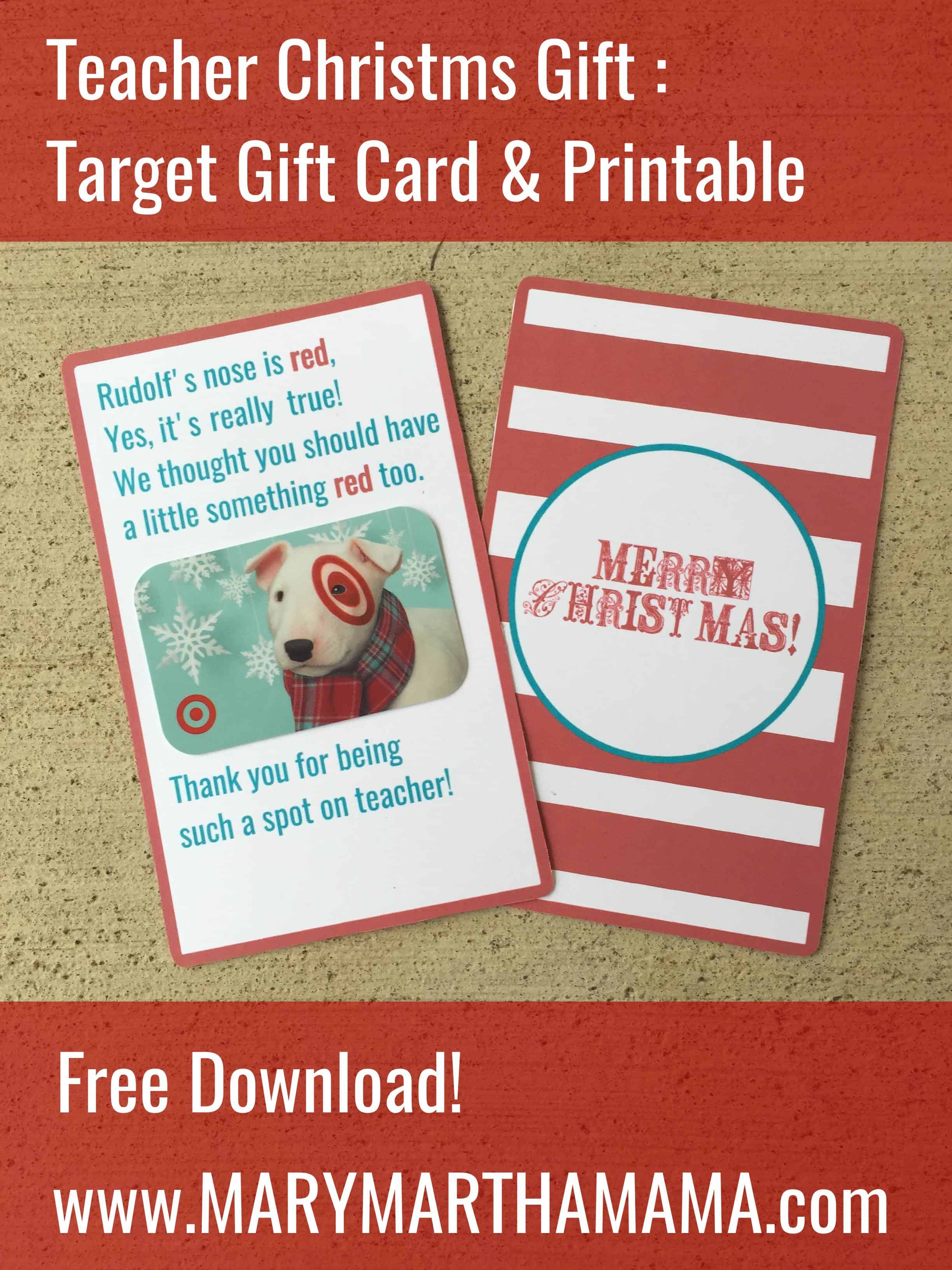 Teacher Christmas Gift: Target Gift Card Printable – Mary Martha Mama