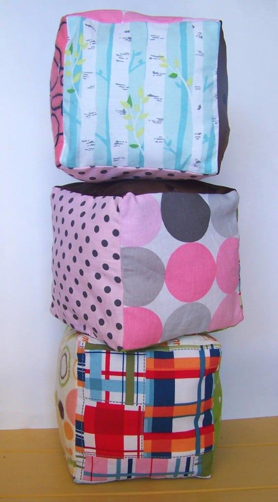fabric baby blocks finished 2
