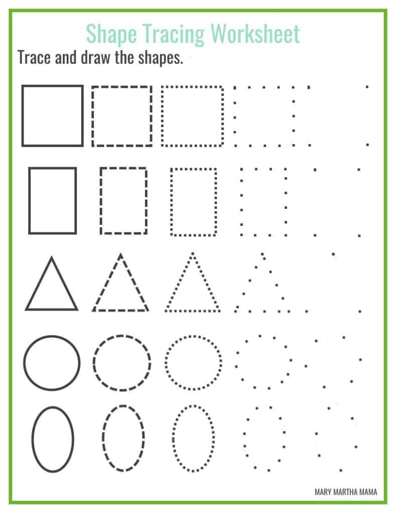 Shapes worksheets for preschool free printables mary for Shape tracing templates