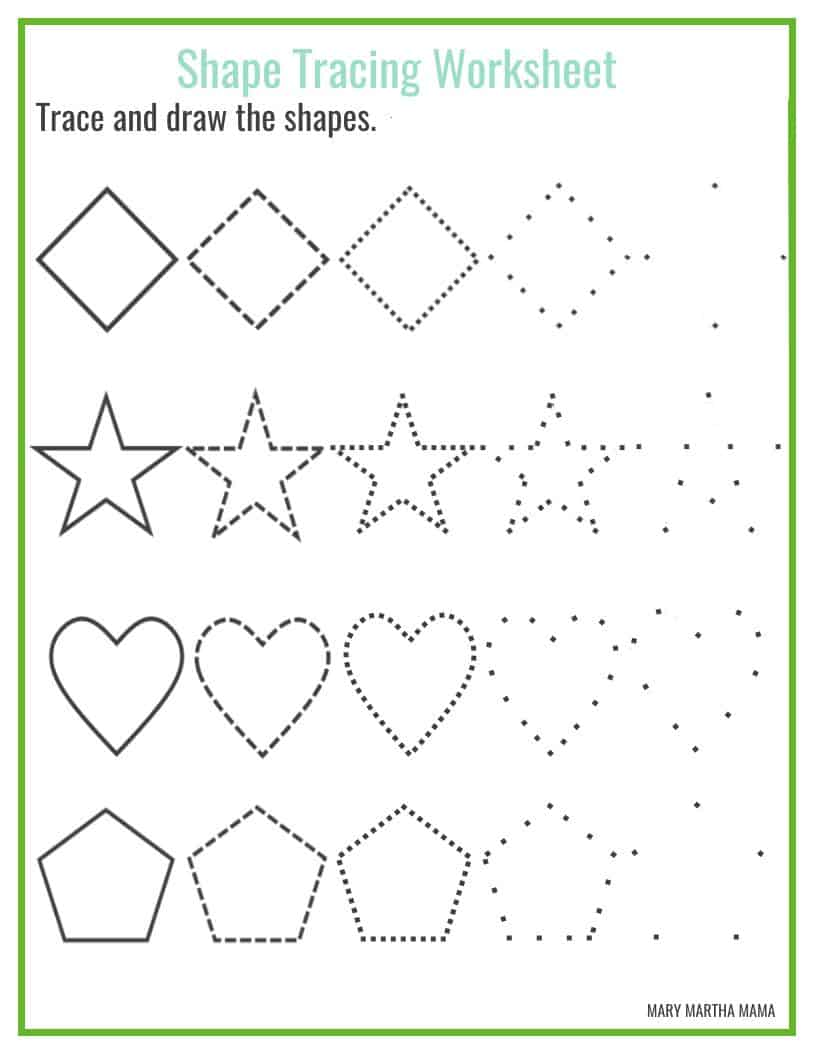 Shapes Worksheets For Preschool Free Printables Mary Martha Mama - 39+ Kindergarten Drawing Worksheets For Nursery PNG
