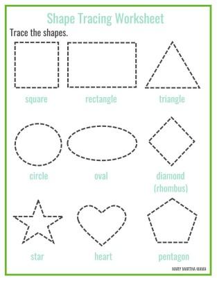 shape tracing worksheet