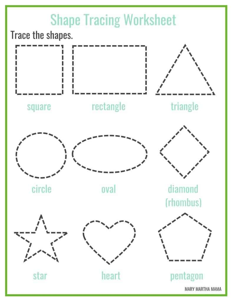 Preschool printables mary martha mama for Shape tracing templates