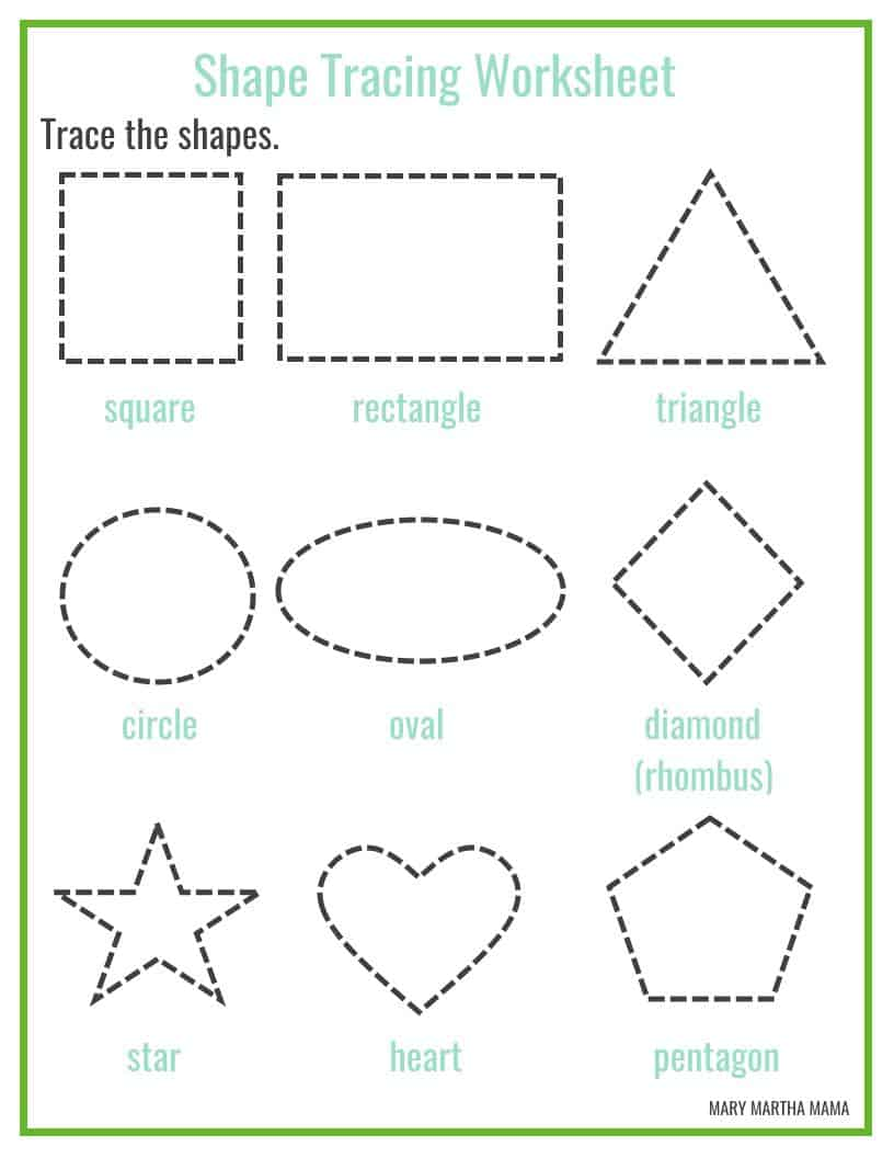 Shapes Worksheets for Preschool [Free Printables] – Mary Martha Mama