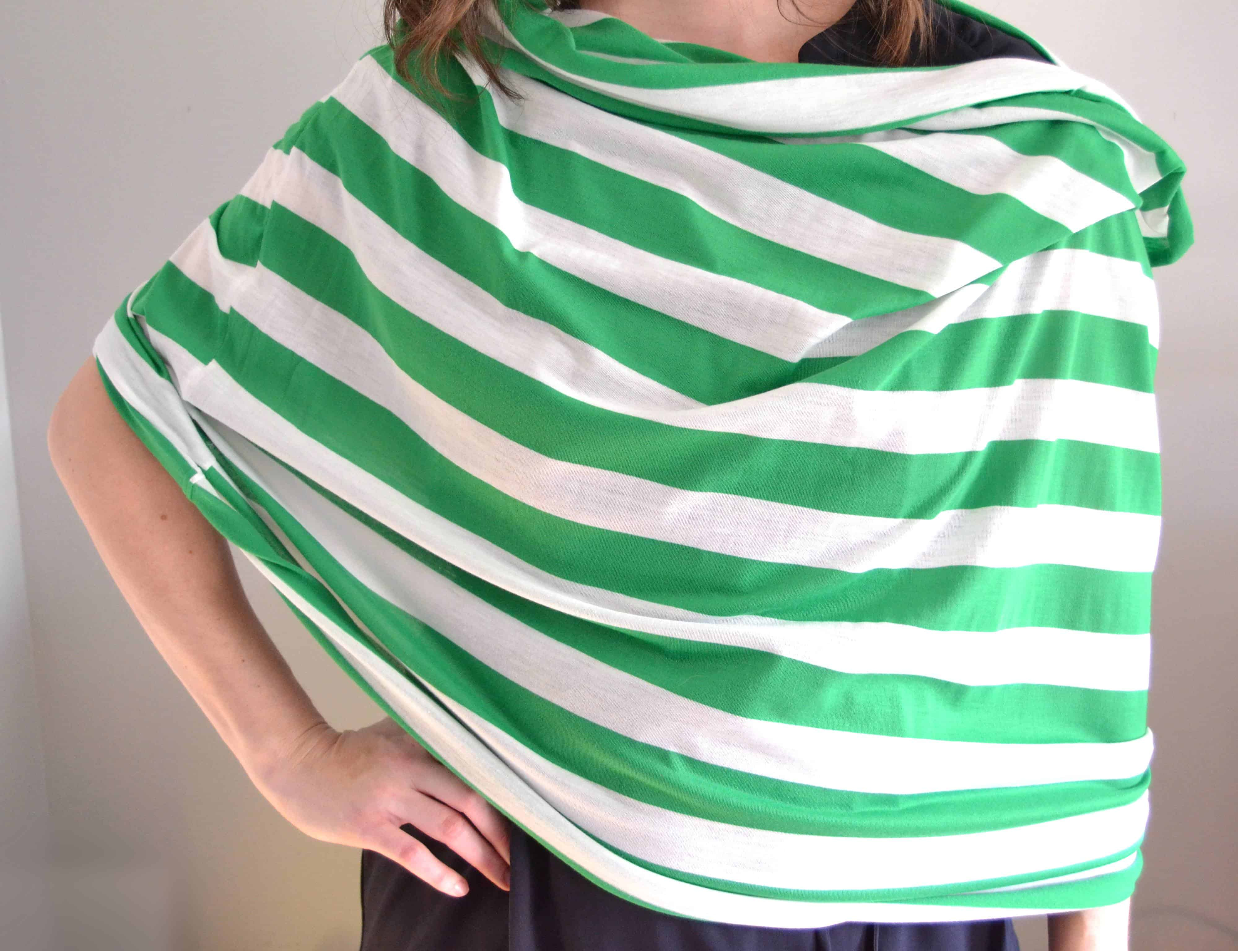 the diy nursing cover unlooped and spread out for nursing