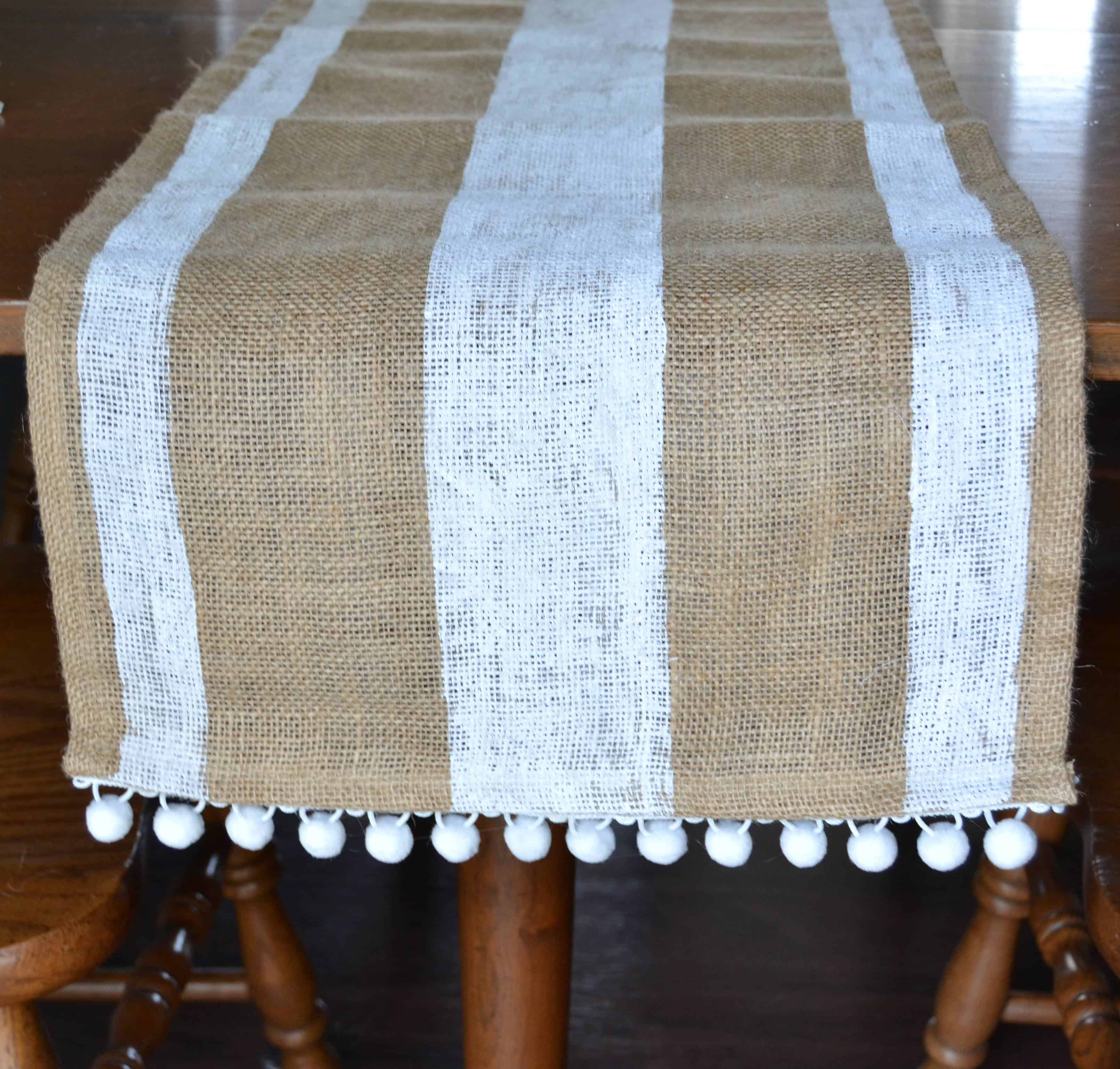 Striped Burlap Table Runner [with Pom Poms!] – Mary Martha ...