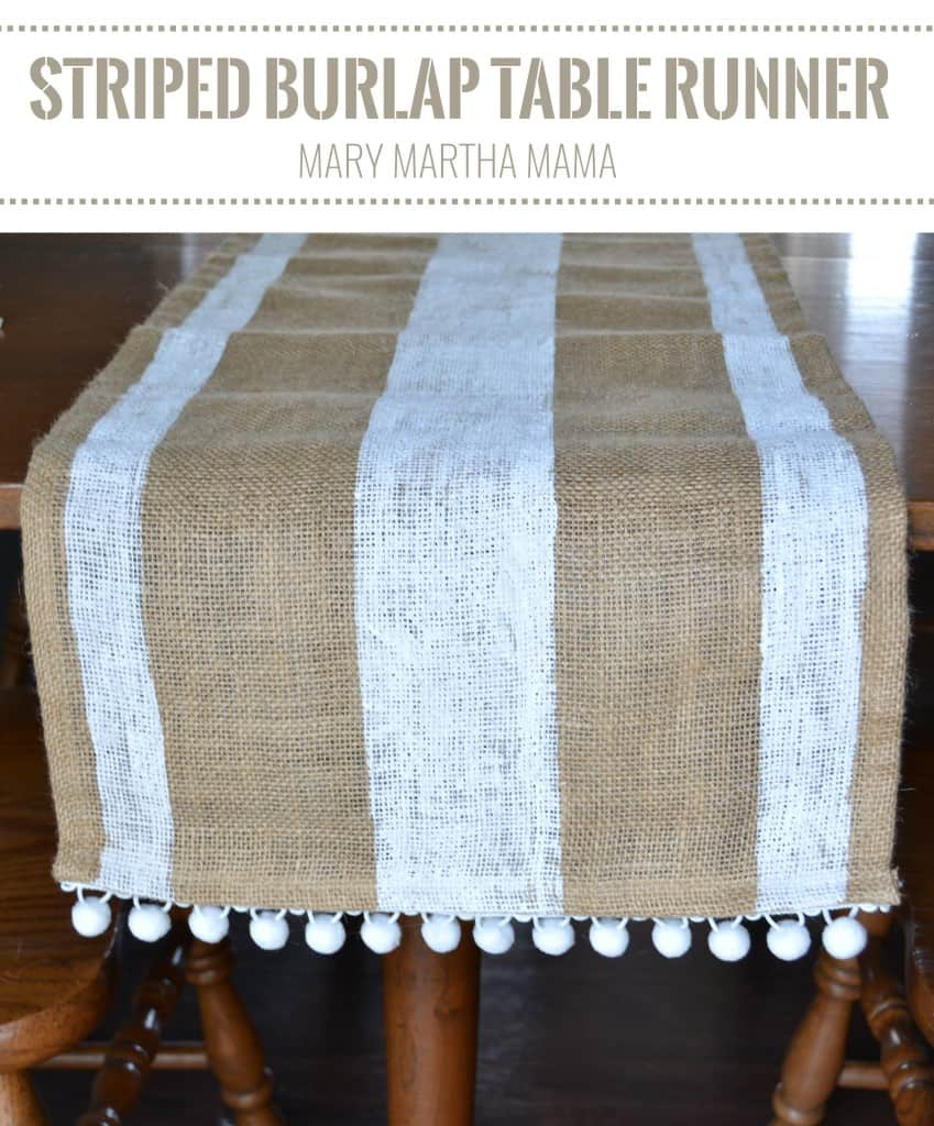 burlap table runner pin