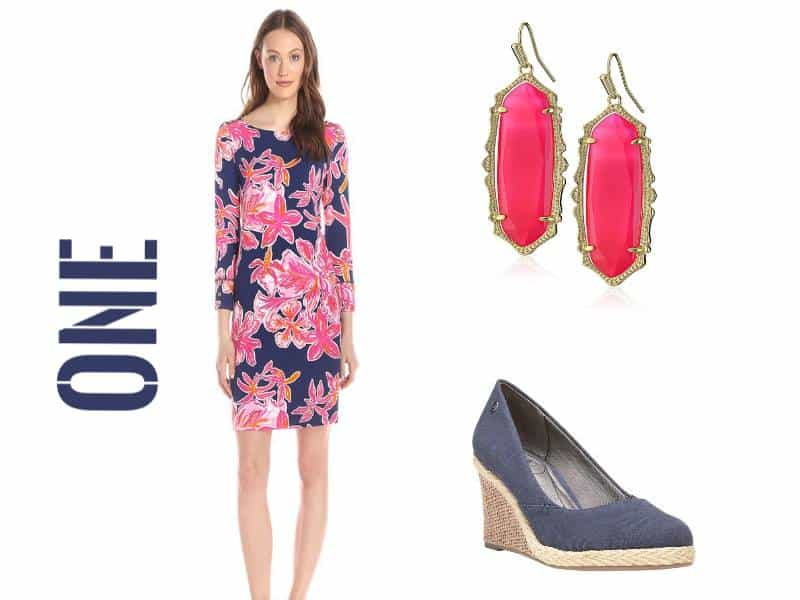 easter look navy floral