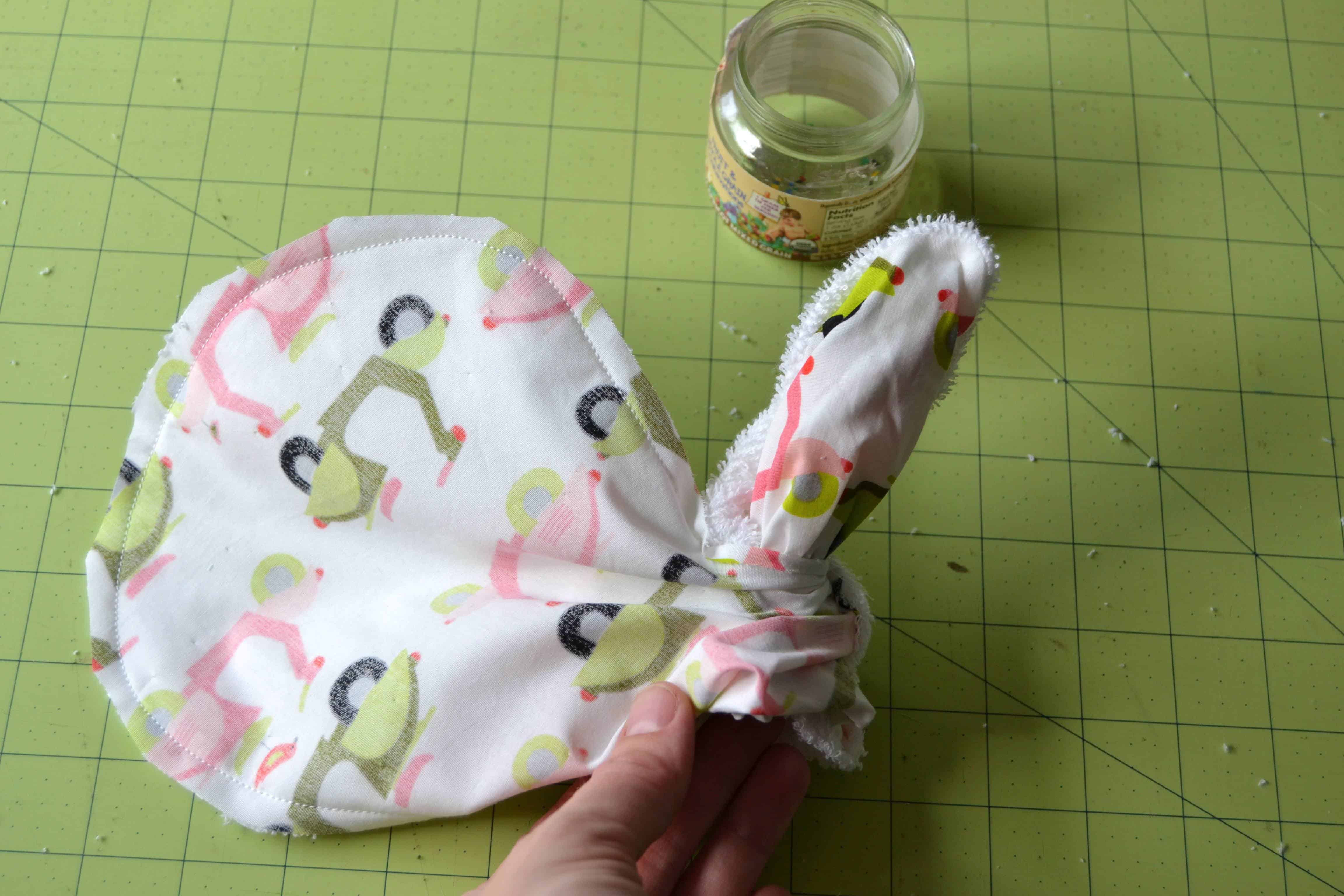 turning the burp cloth right side out