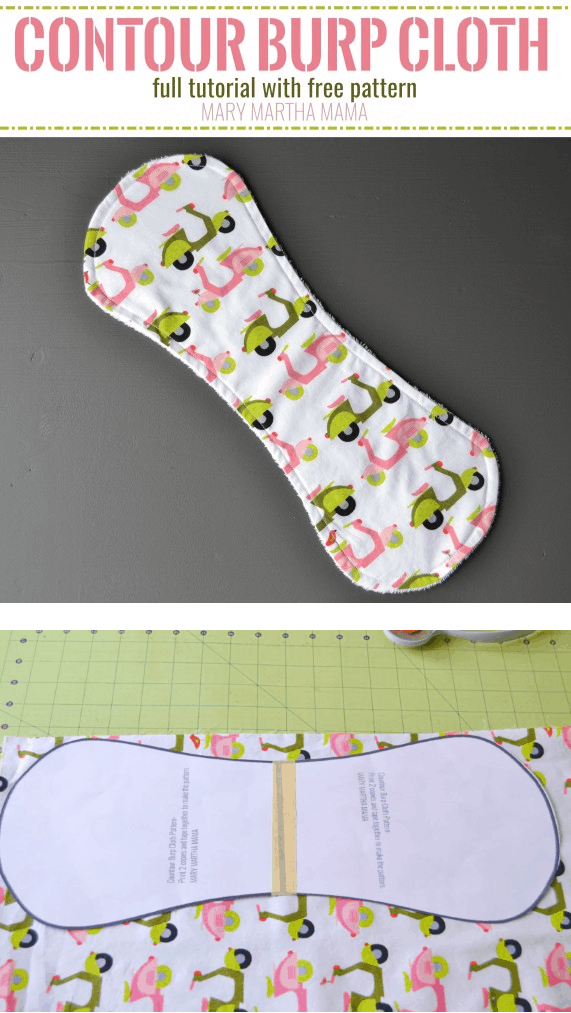 Use this free baby burp cloth pattern to make a contoured burp cloth. #babyburpclothpattern