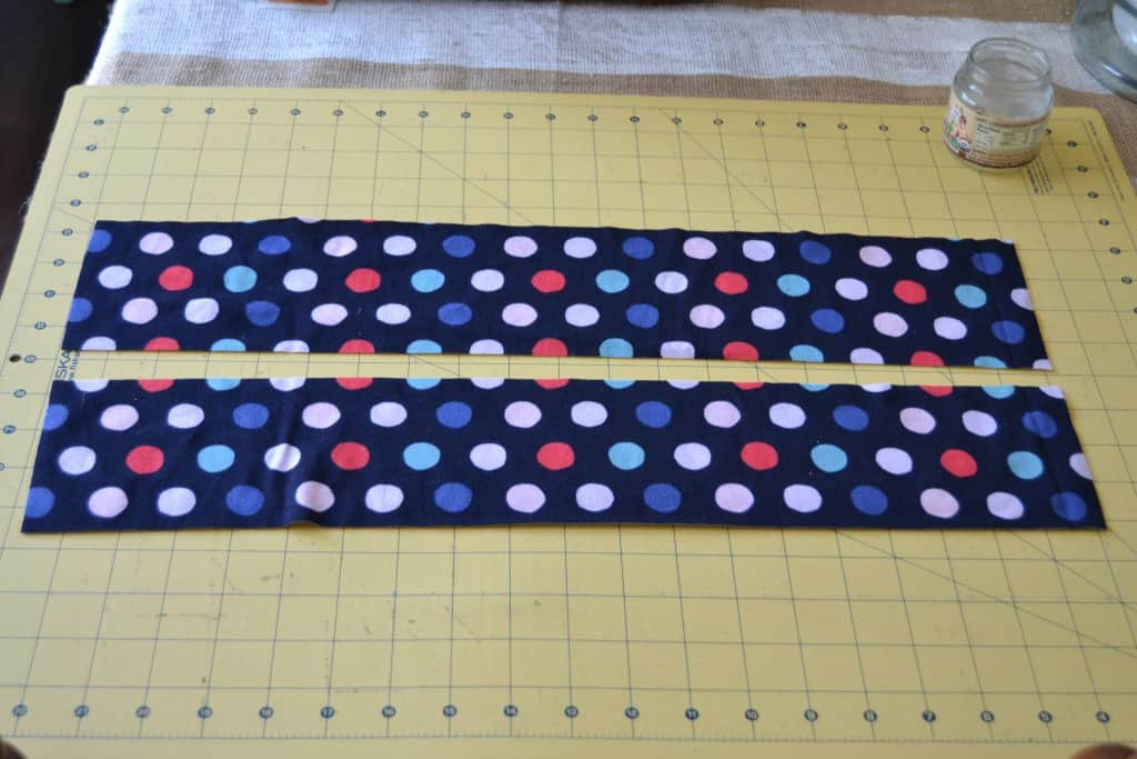 two rectangles of polka dot fabric