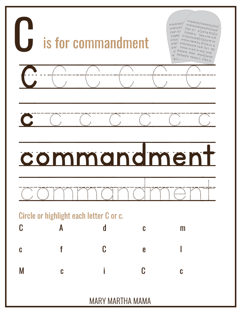 Soft image in ten commandments printable activities