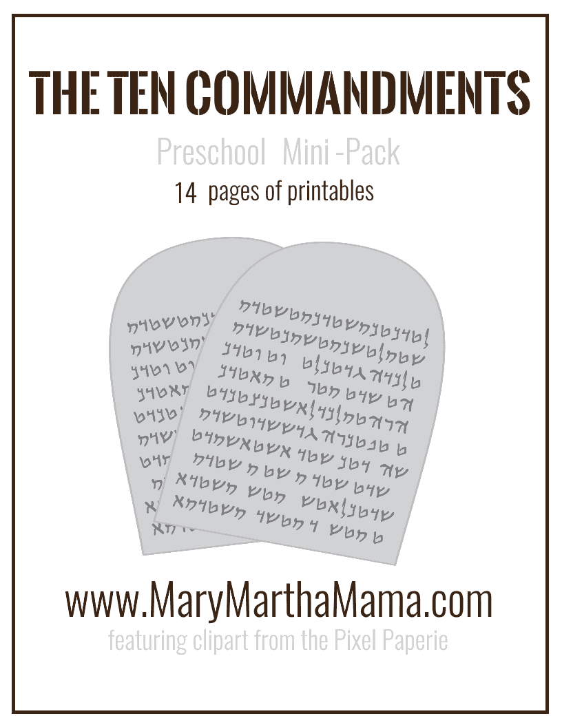 Ten Commandments Preschool Printables - Mary Martha Mama