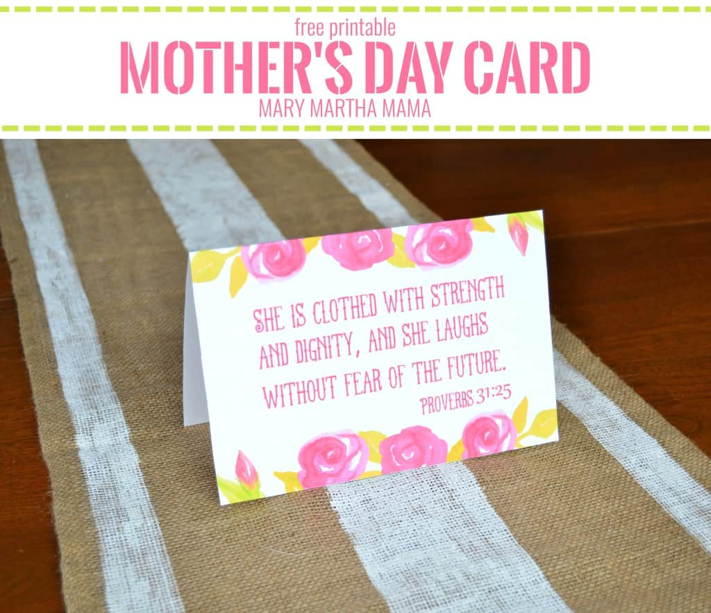 Printable Mother's Day Card [Proverbs 31:25]