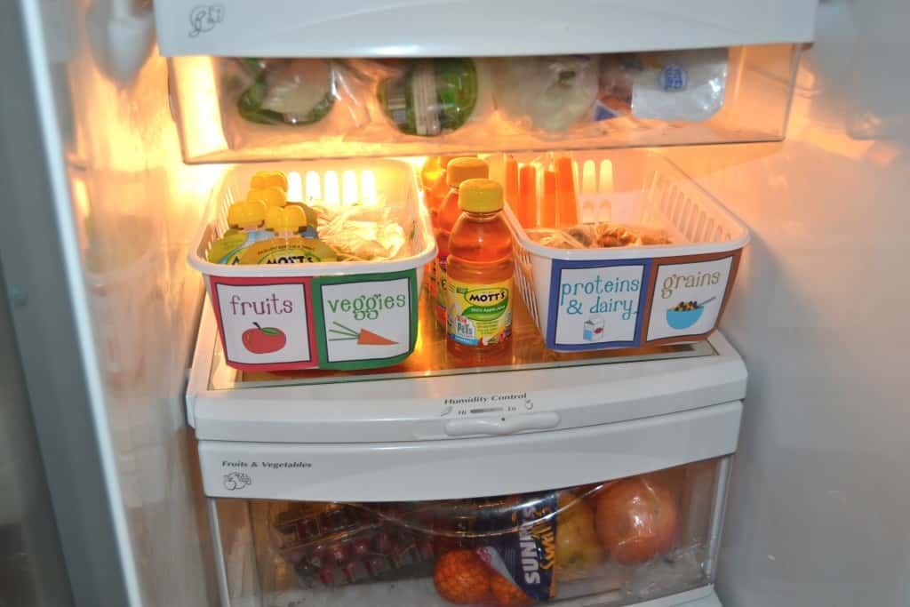 kids snack organization fridge 7