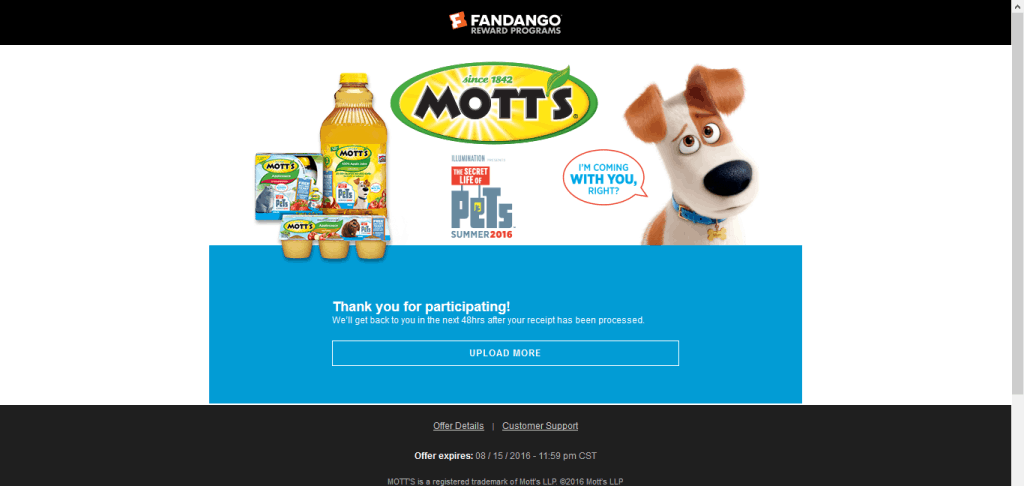 motts movie offer 2