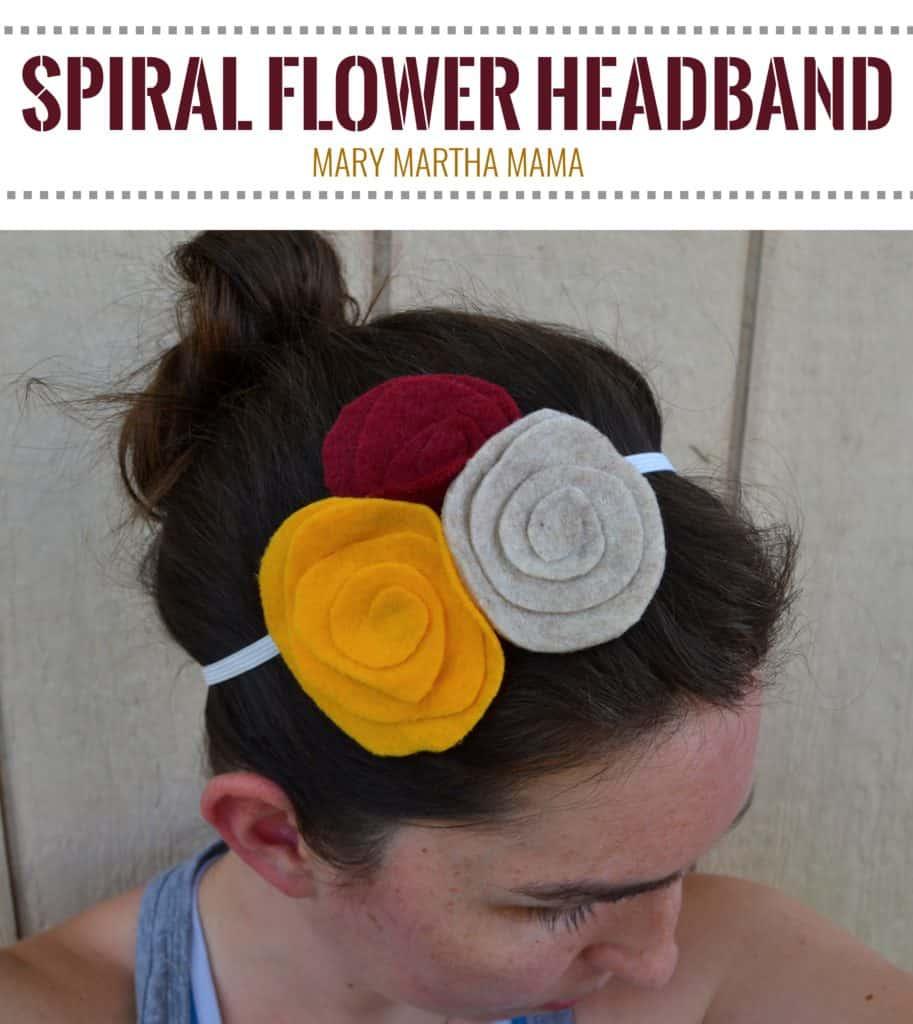 diy spiral felt flower headband for fall square pin