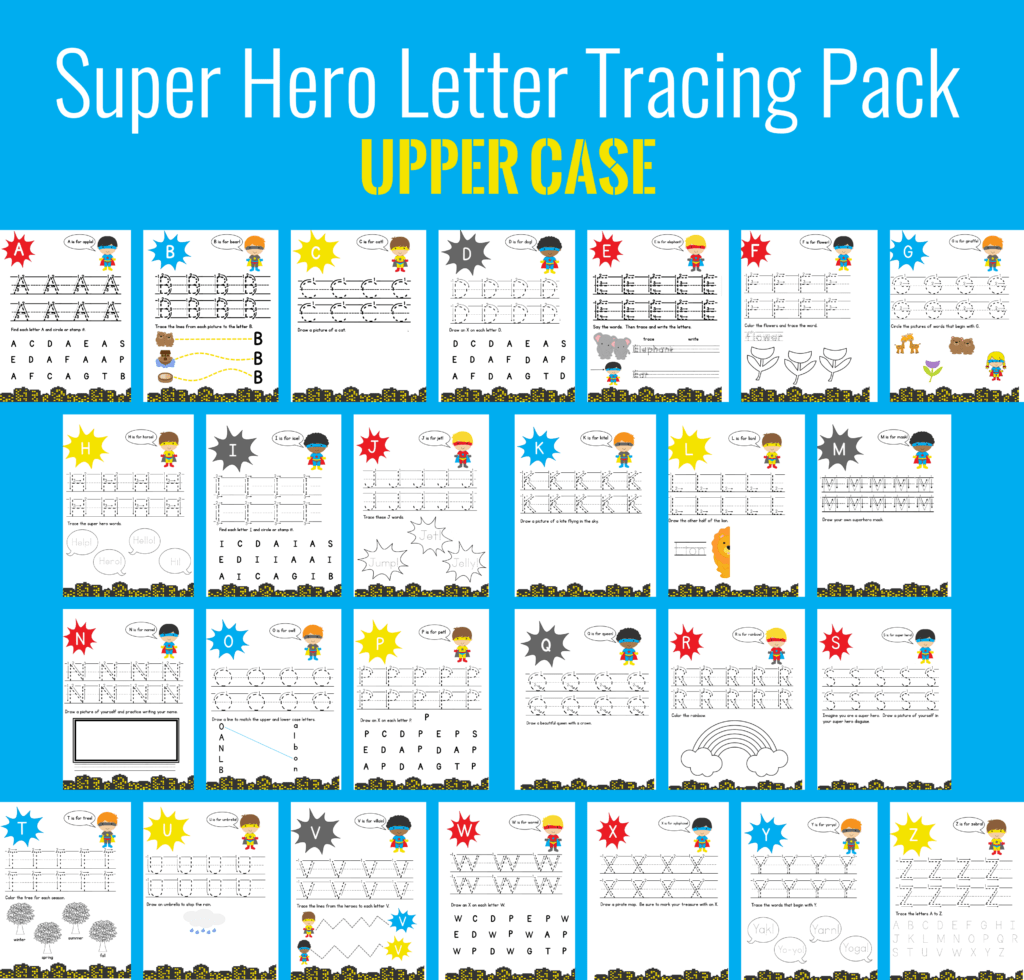 super hero letter tracing uppercase