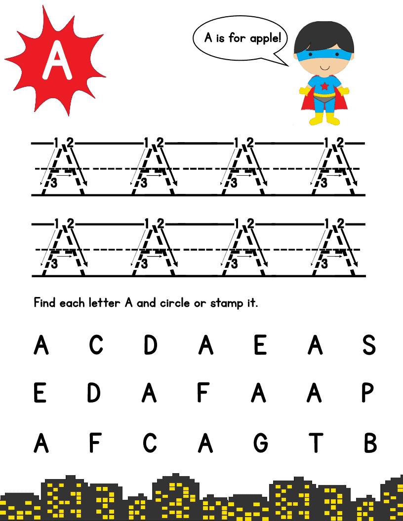 Workbooks superhero worksheets for preschool : Super Hero Letter Tracing Pack: Upper Case – Mary Martha Mama