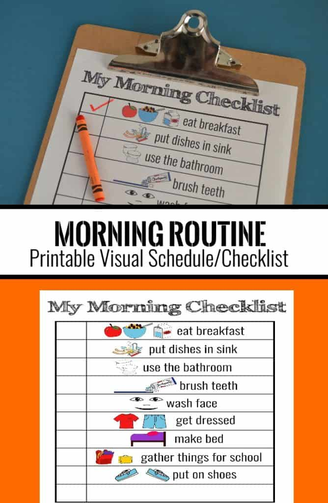 image relating to Printable Visual Schedule Pictures named Printable Visible Routine [for Smoother Mornings!] Mary