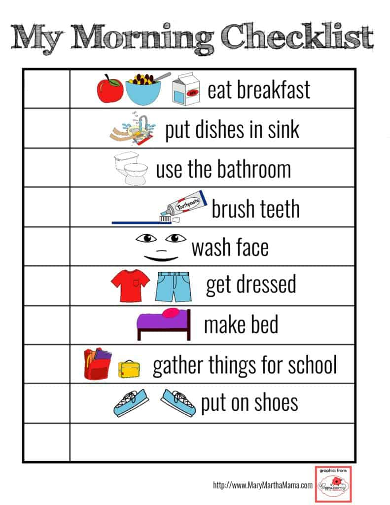 photograph relating to Printable Visual Schedule Pictures identify Printable Visible Routine [for Smoother Mornings!] Mary