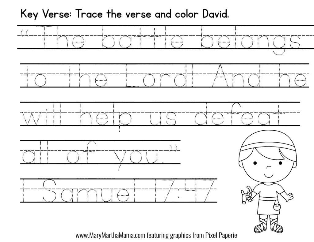 picture regarding David and Goliath Printable Story named David Goliath PreK Pack [Free of charge Mini Pack] Mary Martha Mama