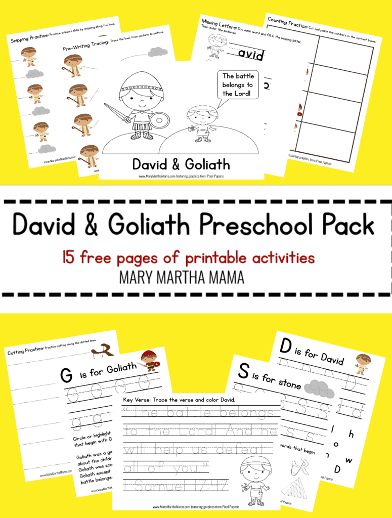 photo regarding David and Goliath Printable Story identified as David Goliath PreK Pack [No cost Mini Pack] Mary Martha Mama