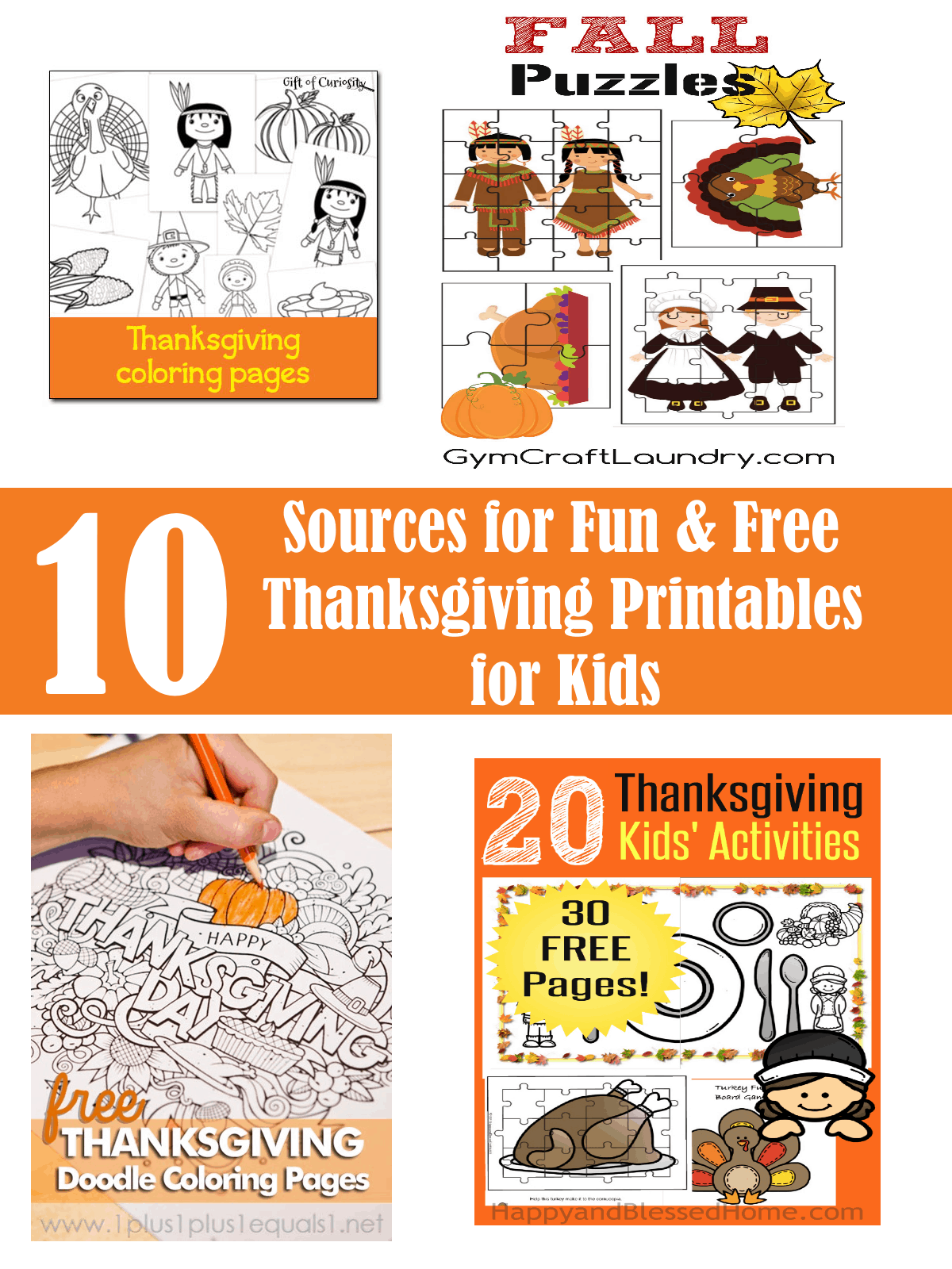 10 Sources for Fun & Free Thanksgiving Printables for Kids