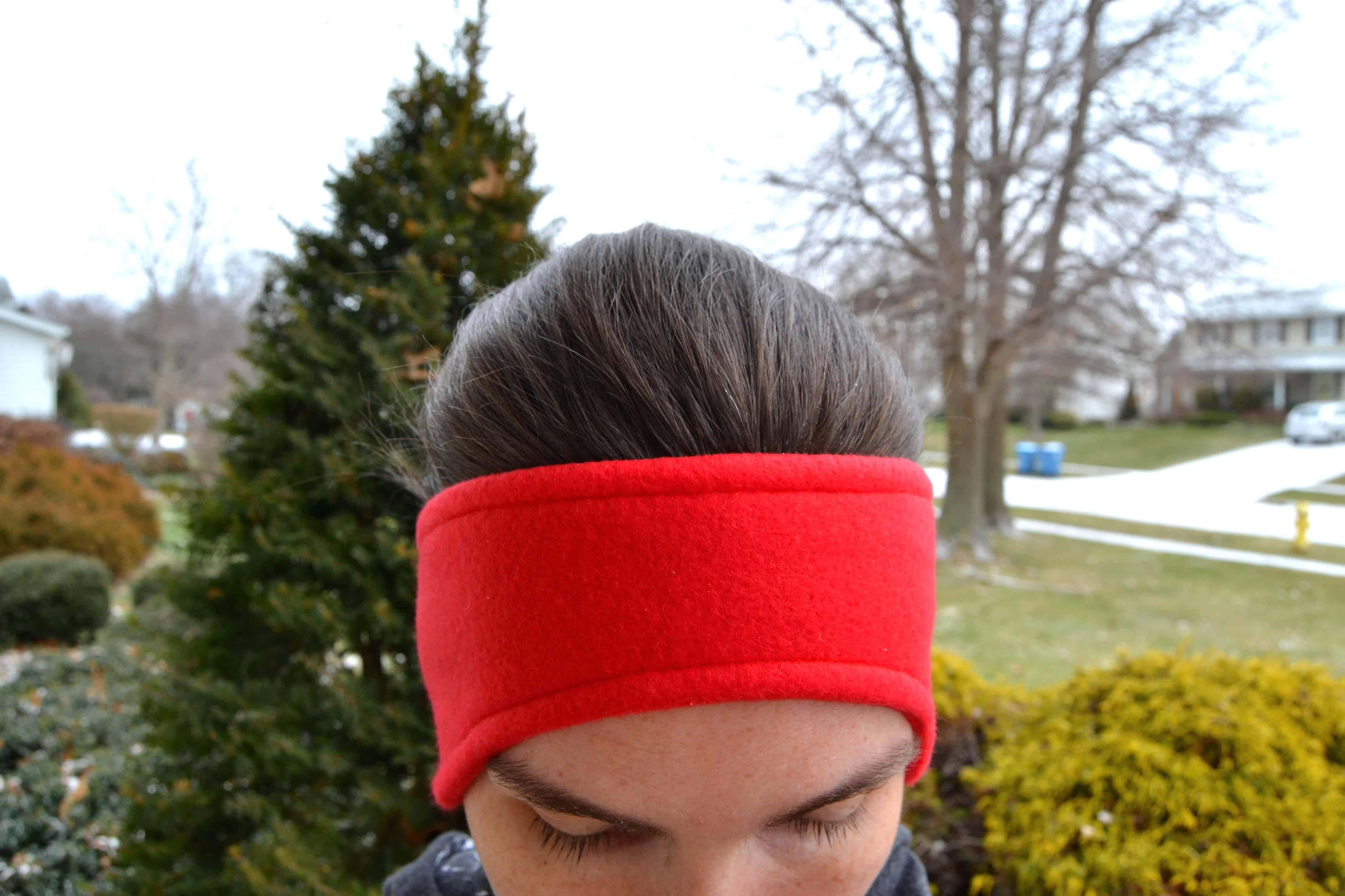 the finished headband from the front